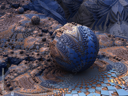 Fototapeta Fractal Planet - Escher geometric patterns, tile mosaic