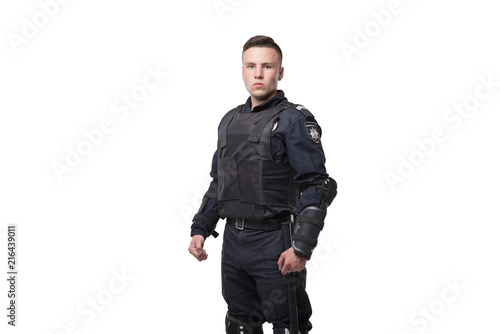 Fotografia Armed police officer isolated on white background