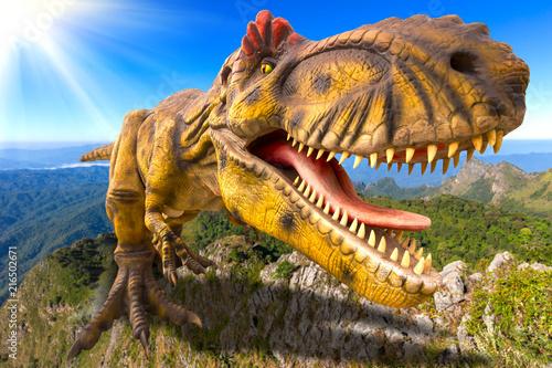 3D rendering scene of the giant Tyrannosaurus rex  dinosaur destroy the park фототапет