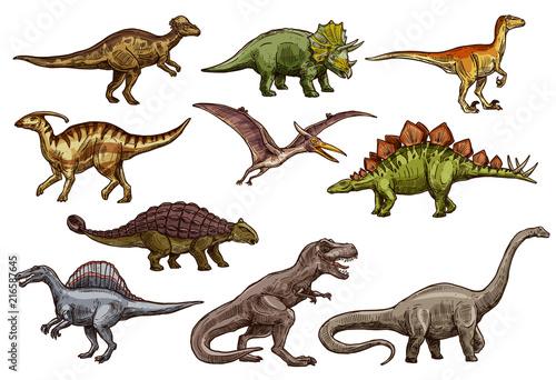 Leinwand Poster Dinosaur and prehistoric reptile animal sketches