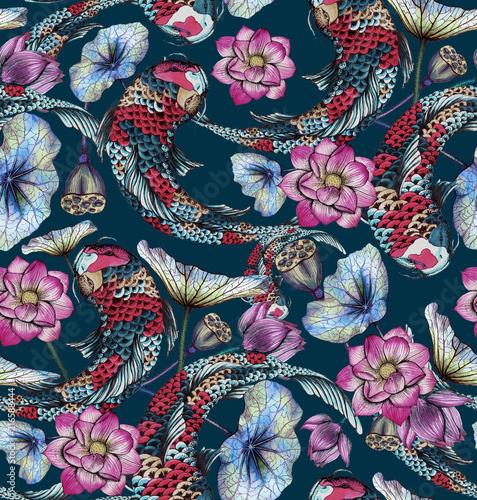 Seamless pattern with carp, and lotuses Fototapeta