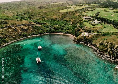 Carta da parati Honolua Bay West Maui, Hawaii - Sailboats & Snorkeling Aerial