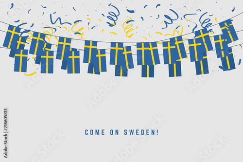 Wallpaper Mural Sweden garland flag with confetti on gray background, Hang bunting for Sweden celebration template banner