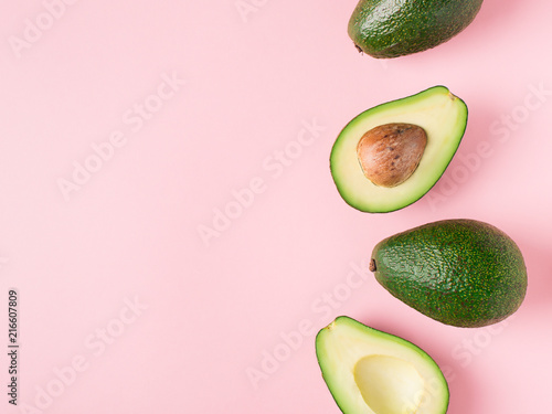 Canvas Half and full raw avocado minimalism pastel