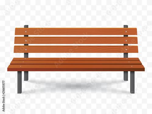 Billede på lærred Vector Bench isolated. Park wooden bench illustration