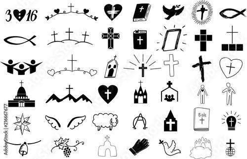 Set of 42 christian icons . Fototapet