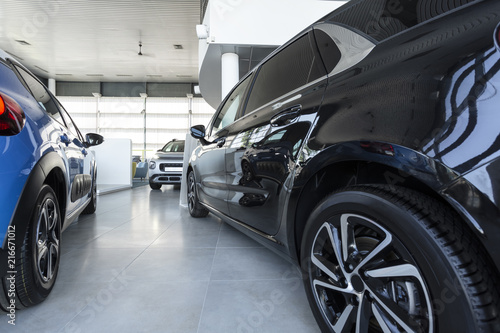 Obraz na plátně Low angle of expensive cars in luxury store with vehicles for sale and rent