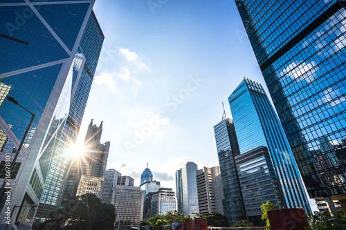 Fototapeta modern office building in hong kong china