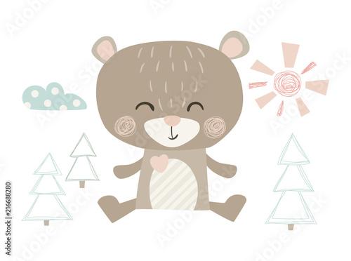 Niedźwiedź uroczy nadruk