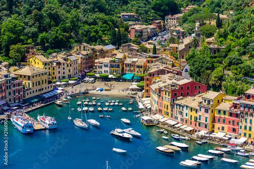 Fototapeta Portofino, Italy - colorful houses and yacht in little bay harbor