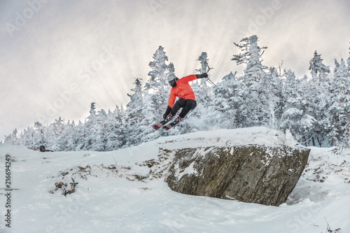 Canvas Print Full length of man doing stunt while skiing on snow against trees during winter