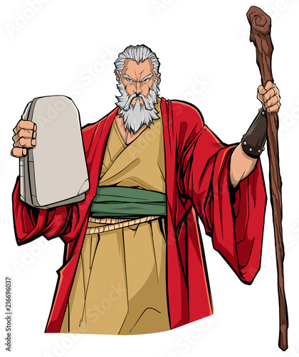 Fotografia Portrait of Moses holding the stone tablets with the Ten Commandments and his wooden staff