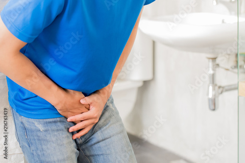 Photo man with urine urgency