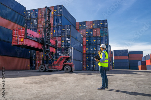 Canvas Print Business logistic concept, import and export concept