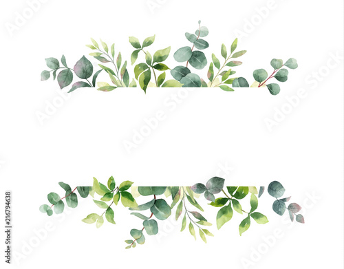 Fototapeta premium Ręka wektor akwarela malowanie poziomy baner z zielonych liści i gałęzi.