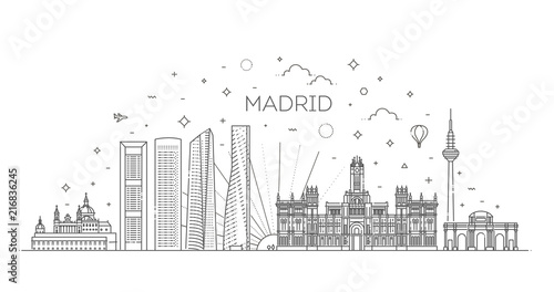 Fototapeta premium Panoramę Madrytu, Hiszpania