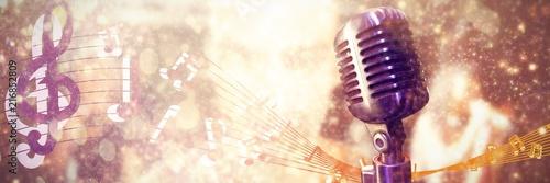 Fotografía Composite image of close-up of microphone