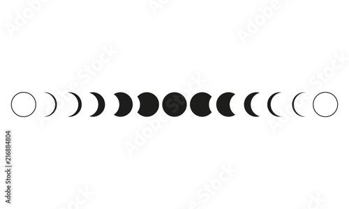 Fotografija Moon phases astronomy icon set Vector Illustration on the white background