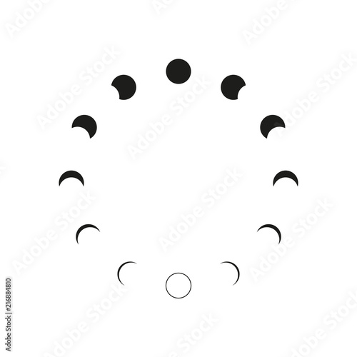 Fotomural Moon phases icon night space astronomy and nature moon phases sphere shadow