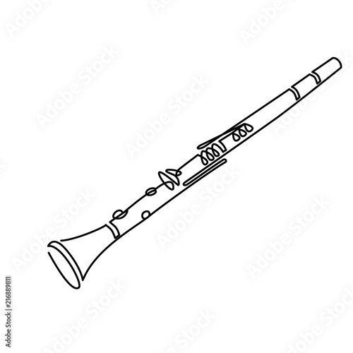 Valokuvatapetti Clarinet line art drawing on white. vector illustration