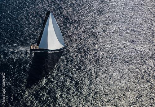 Fotografie, Obraz French Riviera - St Tropez - superyacht triangle shadow aerial view