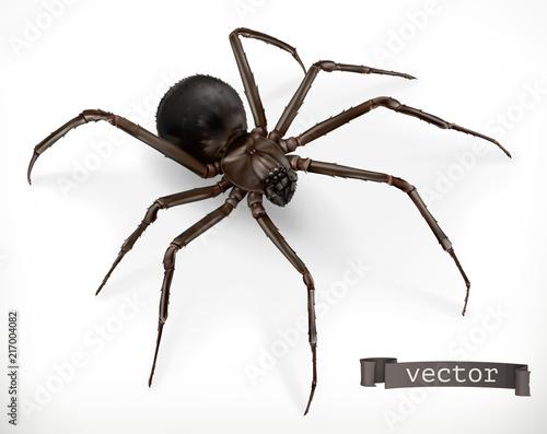 Obraz na płótnie Realistic spider. Halloween 3d vector icon