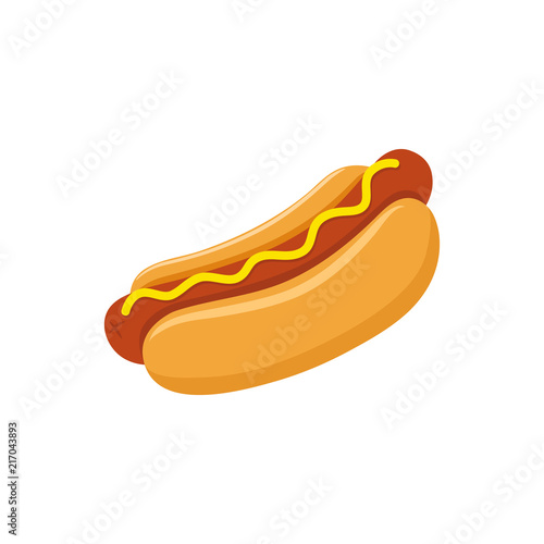 Canvas Print Hot dog with mustard colorful vector cartoon