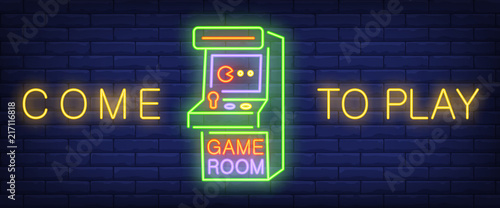 Foto Come to play, game room neon text with arcade game machine