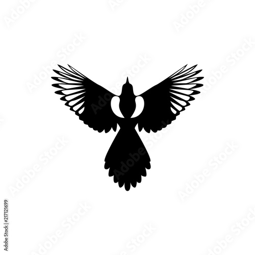 Wallpaper Mural fly magpie silhouette