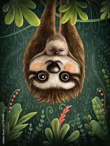 Wallpaper Mural Cute sloths