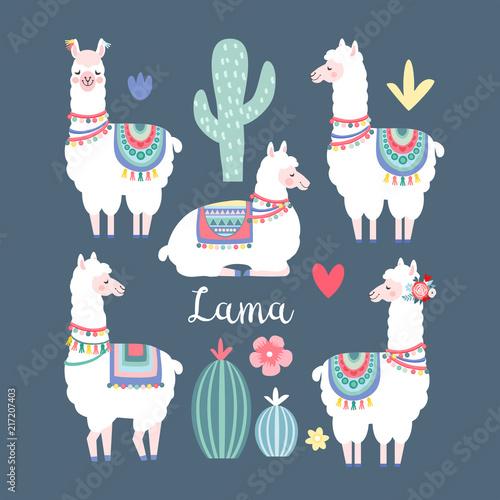 Canvas Print Lama alpaca or guanaco graphic elements