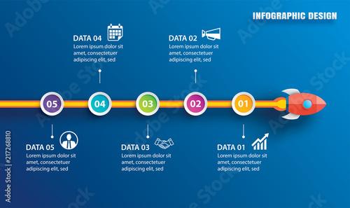 Fotografia Startup infographic with 5 circle horizontal data template
