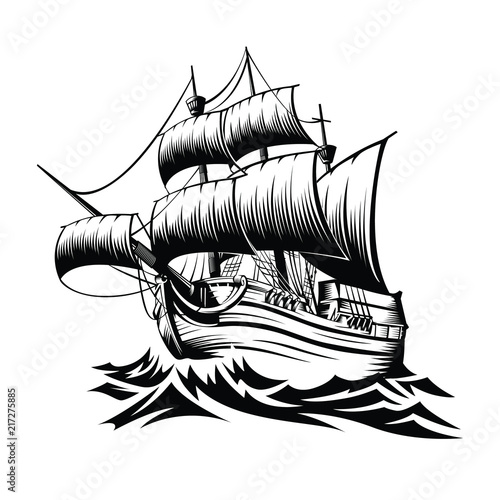 Fototapeta Illustration old ship with waves in style retro design