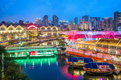 Canvas Print aerial view of Clarke Quay in singapore at night