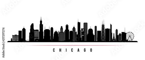 Fototapeta premium Poziomy baner panoramę miasta Chicago. Czarno-biała sylwetka miasta Chicago, USA. Wektorowy szablon dla twój projekta.