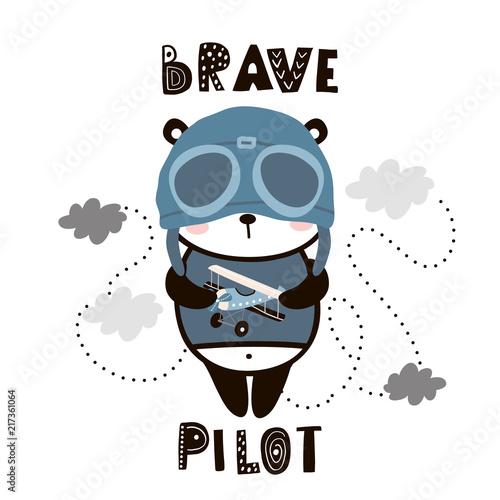 Odważna pilotowa śliczna panda. Cartoon Baby Panda. Dziecinny nadruk do pokoju dziecinnego, ubrania dla dzieci, plakat, pocztówka. Ilustracja wektorowa
