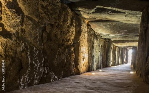 Stampa su Tela Sun rays entering at Dolmen de Soto chamber