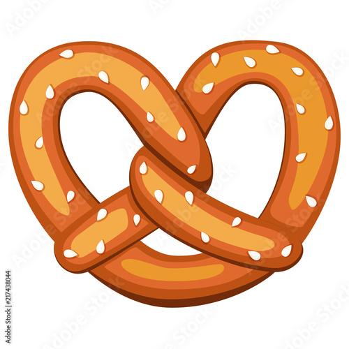 Obraz na plátně Colorful cartoon pretzel with sesame seed