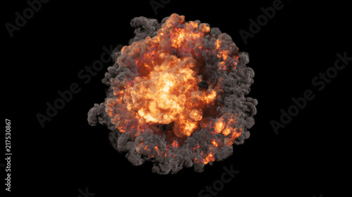 Stampa su Tela 3D rendering of voluminous colorful explosions, shock waves and clubs filled wit
