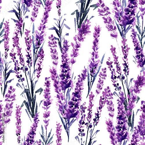 Fototapeta Lavender Field Seamless Pattern