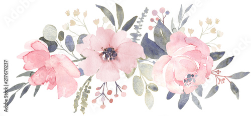 Bouquet composition decorated with dusty pink watercolor flowers and eucalyptus greenery