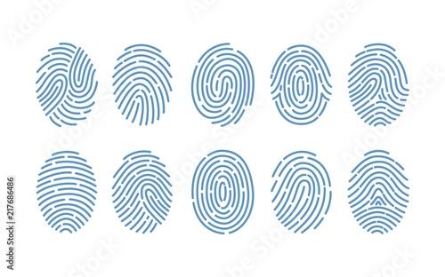 Fotografija Set of fingerprints of various types isolated on white background