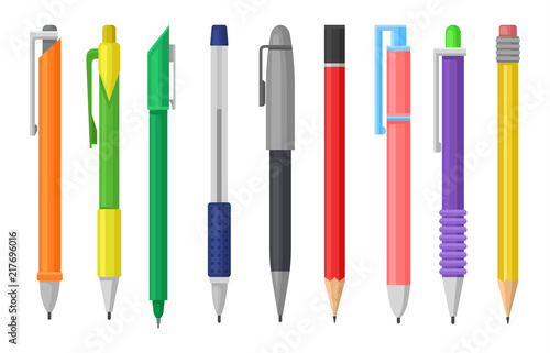 Leinwand Poster Flat vector set of colorful pens and pencils