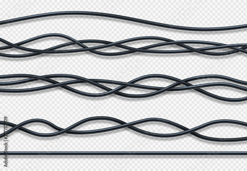 Fotomural Realistic electrical wires, connection industrial cables vector set