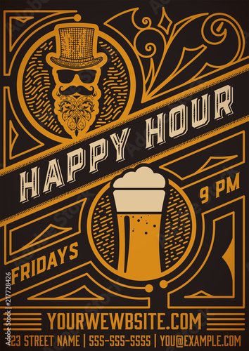 Obraz na plátne Happy hour poster. Vintage Style