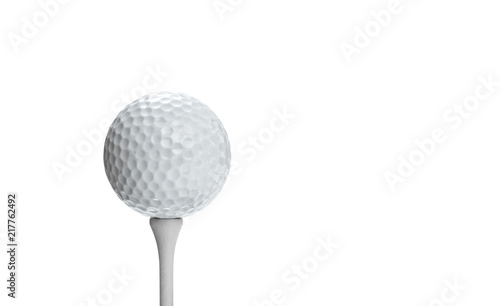Golf ball on a tee isolated on white background, included clipping path