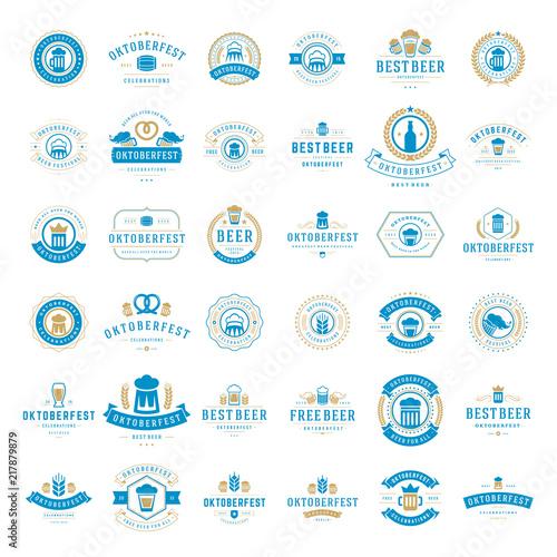 Obraz na plátne Oktoberfest celebration beer festival labels, badges and logos set