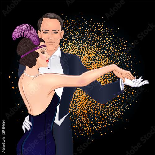 Fotografia Beautiful couple in art deco style dancing tango