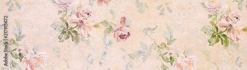 Obraz na płótnie Banner - Vintage paper with roses - web header template - website simple design
