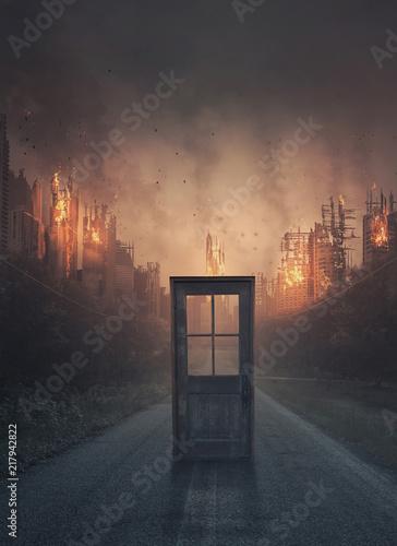 Stampa su Tela Door leading to a burning city